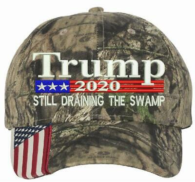 Donald Trump Cap STILL DRAINING THE SWAMP President 2020 Flag Mossy Oak Hat