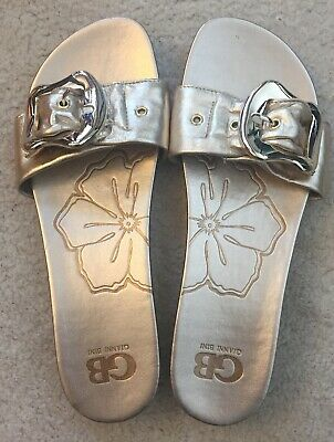 f7a061f456ff Gb Gianni Bini Gold Flats Sandals Slides Womens Shoes Leather Size 9.5 M