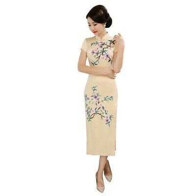 Womens Stand collar Real silk Embroidery cheong-sam Dresses Short sleeve Outdoor
