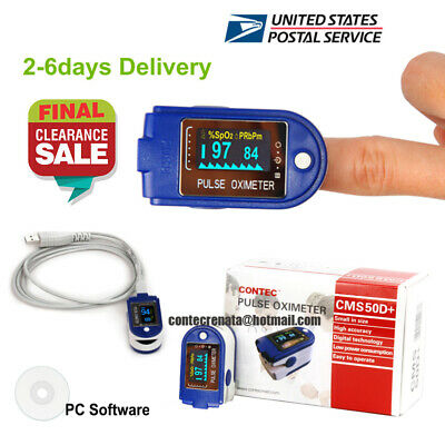 US Seller Finger Tip Pulse Oximeter,SPO2 Monitor 24 hours recorder USB Cable SW