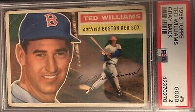 1956 Topps Ted Williams Gray Back Psa 2 Graded Vintage Baseball Card Red Sox