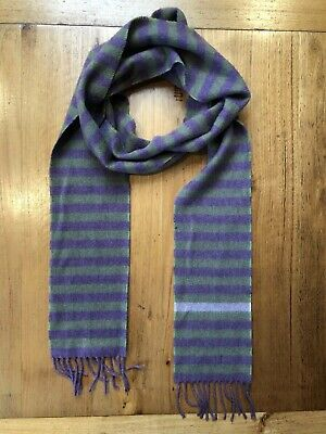 Vintage Very Long Striped Scarf: 100% Pure Cashmere- Made In Great Britain