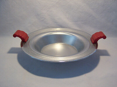 Vintage Art Deco Red Bakelite Handled Keystonwear Chrome Plated Bowl