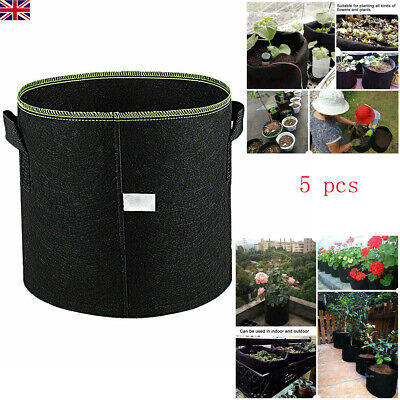UK 5X Hydroponic Fabric Root Pots Fabric Smart Pot Grow Bags Plant Pouch Bag