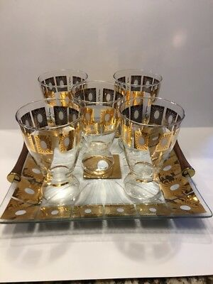 Mid Century Modern Starburst Atomic Retro Glasses & Serving Tray Gold