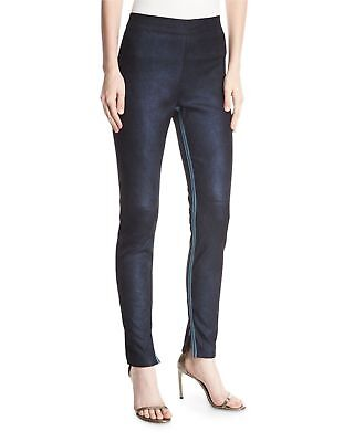ELIE TAHARI  Roxanna Suede Stretch Leggings Denim Blue Medium NWT $998