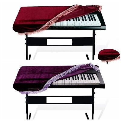 Keyboard Dust Cover Pleuche Tassel Storage Bag For 61 Key Piano Purple Burgundy
