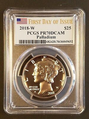 2018 Palladium Eagle $25 High Relief PCGS First Day of Issue PF70DCAM PF70 FDOI