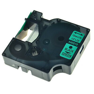 D1 45019 Black on Green Label Tape Compatible With DYMO LabelManager 100 Printer
