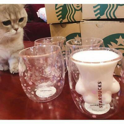 Cat Paw Mug Sakura Pink Double Wall Glass Cat Claw Cup Mug for Starbucks Coffee