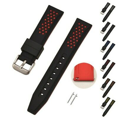 20-26mm Fashion Men Quick Release Silicone Rubber Watch Band Strap Spring Bar US