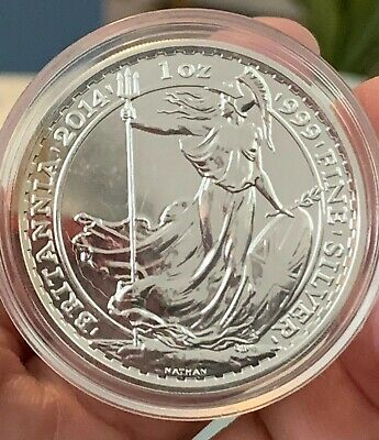 2014 Great Britain, Brittania 2 Pounds, One Troy Ounce, .999 Fine Silver Round!