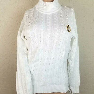 Lauren Ralph Lauren White Turtleneck Sweater Women Petite Small PS Anchor Shirt