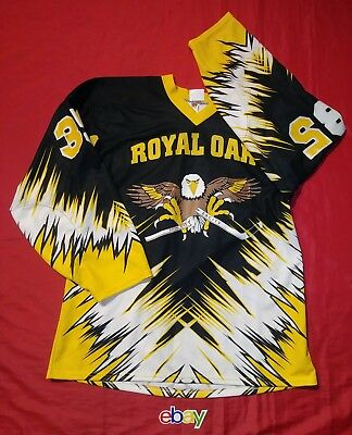 569df58af Vintage Deadstock Royal Oak Eagles Projoy Ice Hockey Jersey Mens Sz L Black