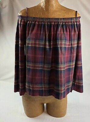 2781f2ae65a5 Cloth Stone Anthropologie Womens Off Shoulder Flannel Plaid Top Size XS