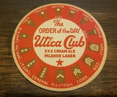 1940's UTICA CLUB PILSNER LAGER ALE BREWING CO. NEW YORK BEER COASTER ARMY RANKS