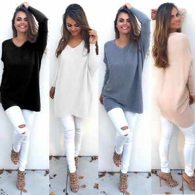 AU Womens Knitted Oversized Sweater Jumper Dress Ladies Baggy Long Pullover Top