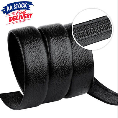 Men's Replacement Leather Waist Belt Strap Buckle Automatic Waistband without AU