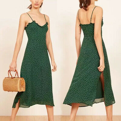 8491e1ecdc734 WOMEN PAR MIDI Dress Realisation Amelia Poison Green Party Polka Dot  Cocktail
