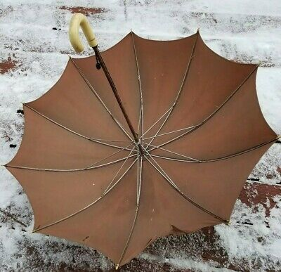 Antique vintage J Handle Umbrella parasol butterfly print silk hng