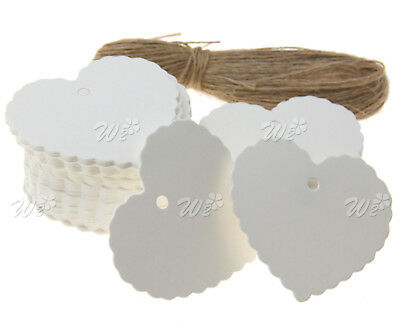 100 x Heart Shape Plain Rustic Gift Kraft Tag Embellishment Wedding White