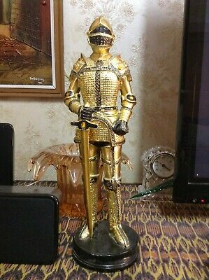 BRT Rare Original Vintage 1970s Retro Medieval Armour Golden Knight Statue 14""