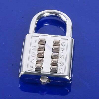 Silver 5 Digit Push-Button Number Combination Luggage Travel Code Lock Padlock