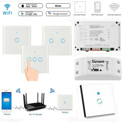 Sonoff Smart Wi-Fi pared luz interruptor RF APP remoto Touch Panel 1 2 3 Cang