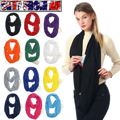 Infinity Scarf with Hidden Zipper Pocket Journey Scarf Travel Secure