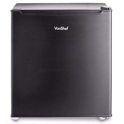 VonShef 47L Mini Fridge Table Top Small Drinks Beer Cooler Bar Freezer Ice Black