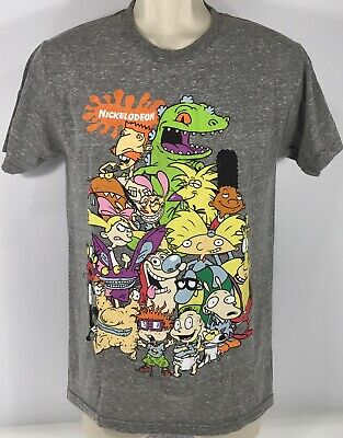 38aac5ff Vintage Retro 90s Kid Show Nickelodeon Cast Mens T Shirt Rugrats Hey Arnold