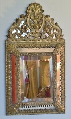 Fabulous Antique French Repousse / Toleware Rococo Style Cushion Mirror 19th C