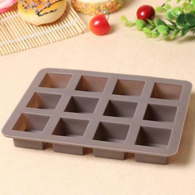 Silicone Cake Chocolate Cookies Baking Mould Ice Cube Soap Mold Tray 12Square N7