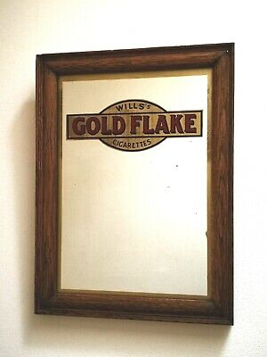 """1930s Wills's Gold Flake Cigarettes Advertising Mirror in Oak Frame - 12"""" x 16"""""""