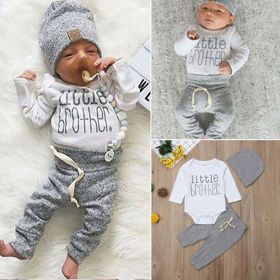 UK Newborn Infant Baby Boy Little Brother's Romper Pants Trousers Outfit Clothes