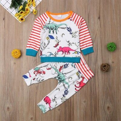 UK Toddler Kids Baby Boys Girls Cotton Tops Pants Leggings 2Pcs Outfits Clothes