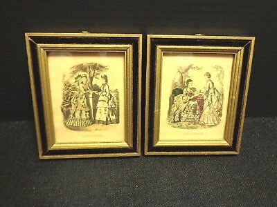 Vintage Lot of 2 Victorian Fashion Prints La Mode Illustree Paris Signed Framed