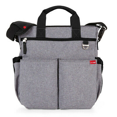 NEW SkipHop Duo Signature Heather Grey Diaper Bag