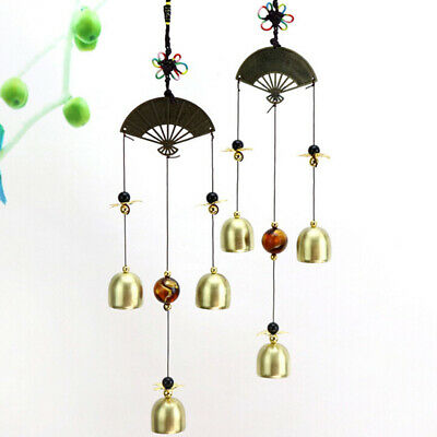 Home Happiness Reteo Hanging Metal Garden Fan Wind Chimes Style Decoration N7