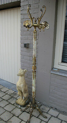 Gorgeous French Onyx marble Brass Coat hat Rack hall caryatid figurines 1950