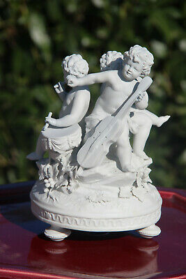 Antique French sevres mark bisque porcelain putti cherub group music