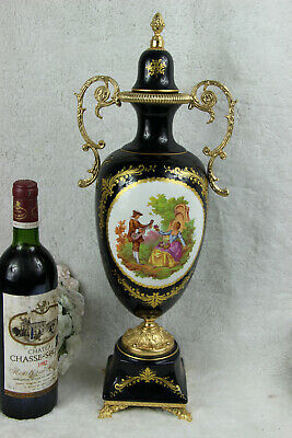 Large French Limoges porcelain marked Vase romantic victorian scene