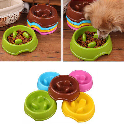 Pet Cat Dog Puppy Slow Down Eating Feeding Bowl Anti Choke Dish Food Feeder