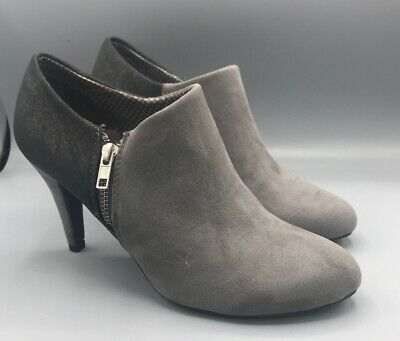 dab6542bbc2 Dexflex Comfort Womens Zipper Gray Suede Like Ankle Boots Shimmer Sz 9.5