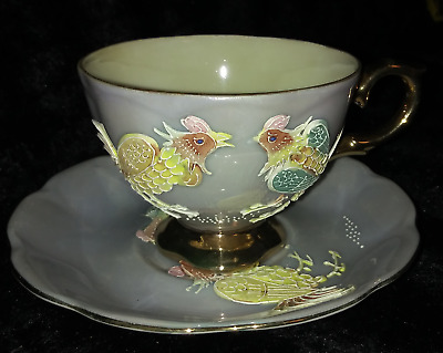 Vintage Teacup and Saucer Shafford Japan Hand Painted 1940s