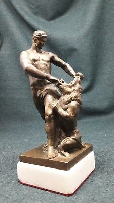 Antique figure, a statue of Samson, tearing the jaws of Leo, the Russian Empire