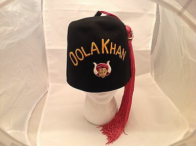 Vintage Masonic Shriner's Fez Hat Masonary OOLA KHAN Size 7 1/8 W/ Tassel & Pin