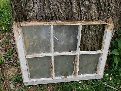 Vintage Antique Farmhouse Wood Sash Window 6 Pane Crafts No Glass 28X21