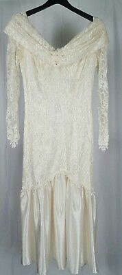 Vintage Womens Dress Drop Waist Lace Satin Ivory White Wedding Prom Small