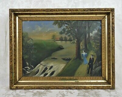 Antique 19th Century Oil Painting Romantic Victorian Couple Stream River Scene